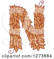 Clipart Of A Floral Capital Letter N With A Flower Royalty Free Vector Illustration