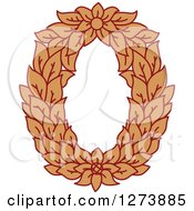 Clipart Of A Floral Capital Letter O With A Flower Royalty Free Vector Illustration