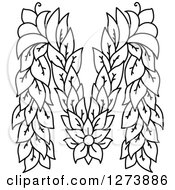 Clipart Of A Black And White Floral Capital Letter M With A Flower Royalty Free Vector Illustration