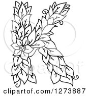 Clipart Of A Black And White Floral Capital Letter K With A Flower Royalty Free Vector Illustration