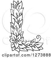 Clipart Of A Black And White Floral Capital Letter L With A Flower Royalty Free Vector Illustration