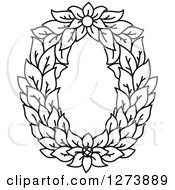 Clipart Of A Black And White Floral Capital Letter O With A Flower Royalty Free Vector Illustration
