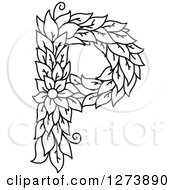 Clipart Of A Black And White Floral Capital Letter P With A Flower Royalty Free Vector Illustration