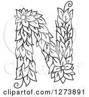 Clipart Of A Black And White Floral Capital Letter N With A Flower Royalty Free Vector Illustration
