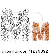 Clipart Of Black And White And Colored Floral Capital Letter M Designs Royalty Free Vector Illustration