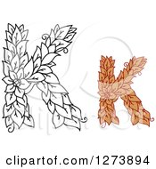Clipart Of Black And White And Colored Floral Capital Letter K Designs Royalty Free Vector Illustration