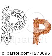 Clipart Of Black And White And Colored Floral Capital Letter P Designs Royalty Free Vector Illustration