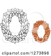 Clipart Of Black And White And Colored Floral Capital Letter O Designs Royalty Free Vector Illustration