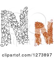 Clipart Of Black And White And Colored Floral Capital Letter N Designs Royalty Free Vector Illustration