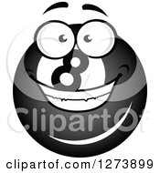 Clipart Of A Grinning Billiards Eightball Character Royalty Free Vector Illustration