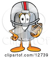 Clipart Picture Of A Garbage Can Mascot Cartoon Character In A Helmet Holding A Football by Toons4Biz