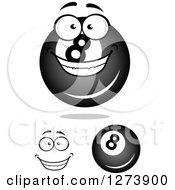 Clipart Of Billiards Eightballs And A Face Royalty Free Vector Illustration