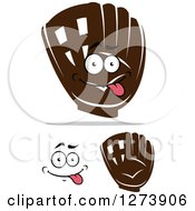 Clipart Of Brown Baseball Gloves And A Face Royalty Free Vector Illustration