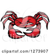Clipart Of A Tough Red Crab Royalty Free Vector Illustration