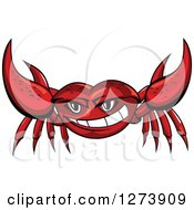 Clipart Of A Tough Red Crab Holding Up His Claws Royalty Free Vector Illustration