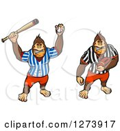 Clipart Of Baseball And Football Gorillas Royalty Free Vector Illustration by Vector Tradition SM