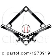 Clipart Of A Black Baseball Diamond With A Ball And Crossed Bats Royalty Free Vector Illustration by Vector Tradition SM