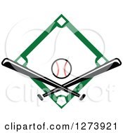 Clipart Of A Green Diamond With A Baseball And Crossed Bats Royalty Free Vector Illustration by Vector Tradition SM