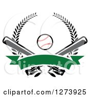 Clipart Of A Baseball And Crossed Bats With A Blank Green Banner And Wreath Royalty Free Vector Illustration by Vector Tradition SM