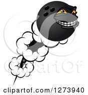 Poster, Art Print Of Grinning And Flying Bowling Ball Character