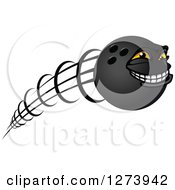 Poster, Art Print Of Grinning Flying Bowling Ball Character