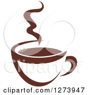 Clipart Of A Dark Brown And White Steamy Coffee Cup 10 Royalty Free Vector Illustration