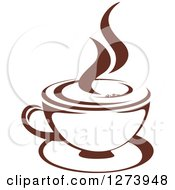 Clipart Of A Dark Brown And White Steamy Coffee Cup 8 Royalty Free Vector Illustration