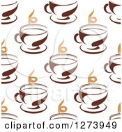 Clipart Of A Seamless Background Pattern Of Steamy Brown Coffee Cups 2 Royalty Free Vector Illustration