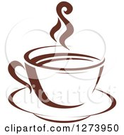 Clipart Of A Dark Brown And White Steamy Coffee Cup 2 Royalty Free Vector Illustration