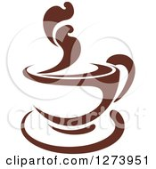 Clipart Of A Dark Brown And White Steamy Coffee Cup 13 Royalty Free Vector Illustration