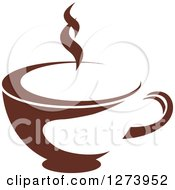Clipart Of A Dark Brown And White Steamy Coffee Cup 12 Royalty Free Vector Illustration