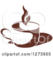 Clipart Of A Dark Brown And White Steamy Coffee Cup 5 Royalty Free Vector Illustration