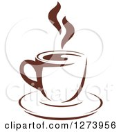 Clipart Of A Dark Brown And White Steamy Coffee Cup 3 Royalty Free Vector Illustration