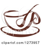 Clipart Of A Dark Brown And White Coffee Cup With A Spoon Royalty Free Vector Illustration