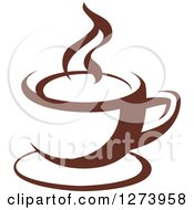 Clipart Of A Dark Brown And White Steamy Coffee Cup 4 Royalty Free Vector Illustration