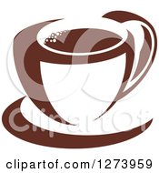 Clipart Of A Dark Brown And White Coffee Cup And Saucer Royalty Free Vector Illustration