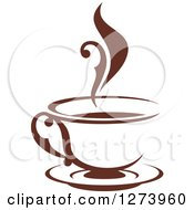 Clipart Of A Dark Brown And White Steamy Coffee Cup 7 Royalty Free Vector Illustration