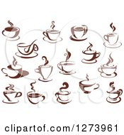 Clipart Of Dark Brown And White Steamy Coffee Cups Royalty Free Vector Illustration