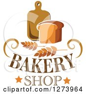 Clipart Of A Loaf Of Bread With Wheat Text And Cutting Board Royalty Free Vector Illustration