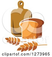 Clipart Of A Loaf Of Bread Wheat And Cutting Board Royalty Free Vector Illustration
