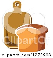 Clipart Of A Loaf Of Bread And Cutting Board Royalty Free Vector Illustration