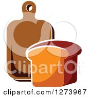 Clipart Of A Loaf Of Bread And A Wood Cutting Board Royalty Free Vector Illustration