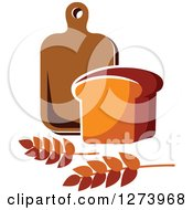 Clipart Of A Loaf Of Bread Wheat And Wood Cutting Board Royalty Free Vector Illustration