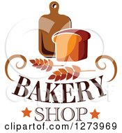 Clipart Of A Loaf Of Bread With Wheat Text And A Wood Cutting Board Royalty Free Vector Illustration