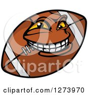 Clipart Of A Grinning American Football Character Royalty Free Vector Illustration by Vector Tradition SM