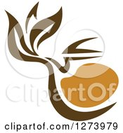 Clipart Of A Leafy Brown Tea Pot 7 Royalty Free Vector Illustration