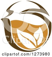 Clipart Of A Leafy Brown Tea Cup 6 Royalty Free Vector Illustration