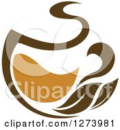 Clipart Of A Leafy Brown Tea Cup 5 Royalty Free Vector Illustration