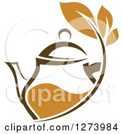 Clipart Of A Leafy Brown Tea Pot 3 Royalty Free Vector Illustration