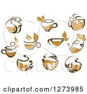 Clipart Of Leafy Brown Tea Cups And Kettles Royalty Free Vector Illustration